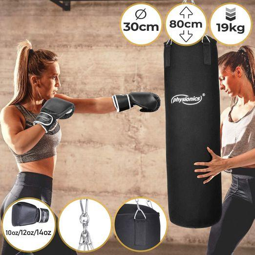 Boxing Bag 30/80cm, 19kg + Gloves 10, 12 or 14 oz