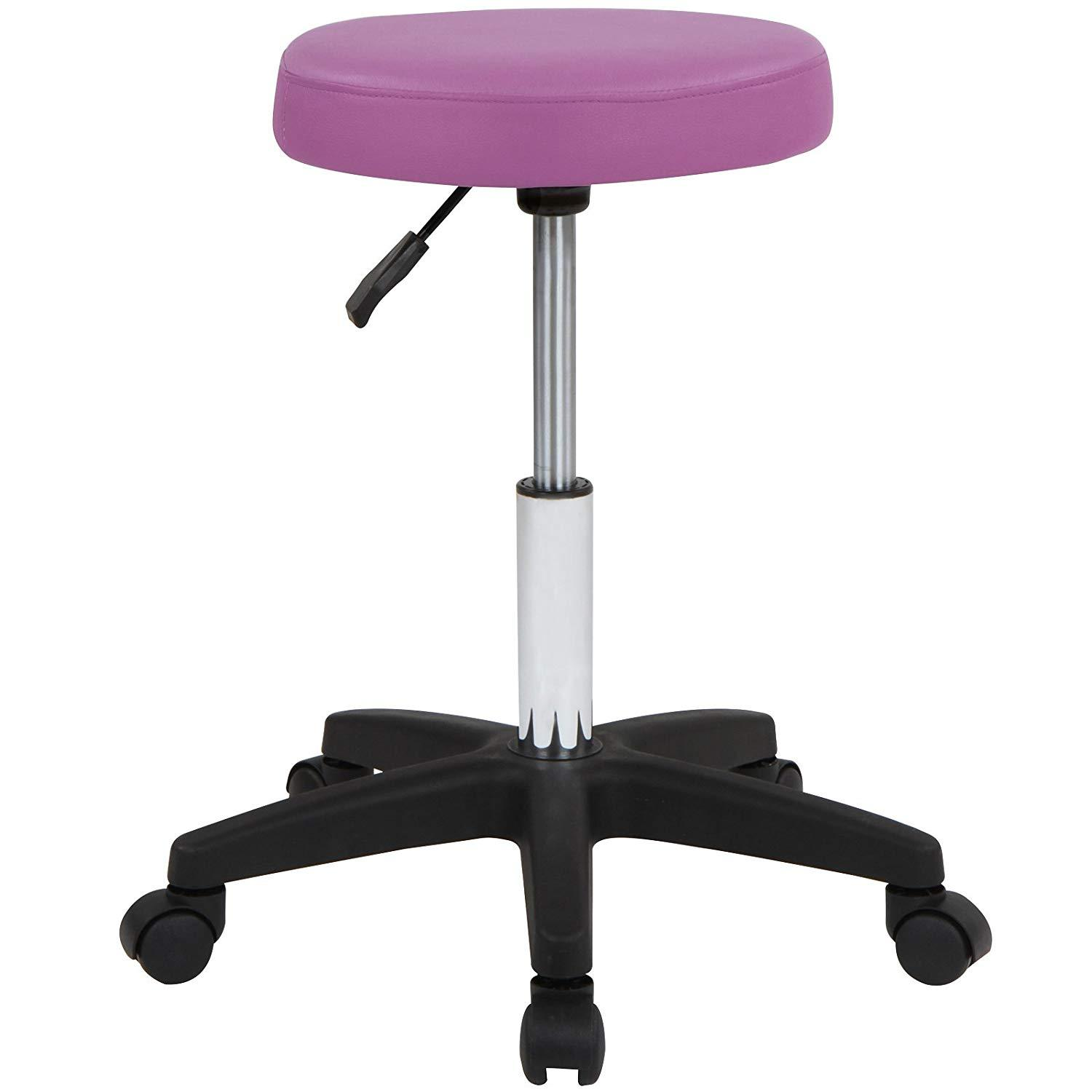 2x Cosmetic Bar Office Stool Stools Rotatable and Adjustable Purple/Lilla