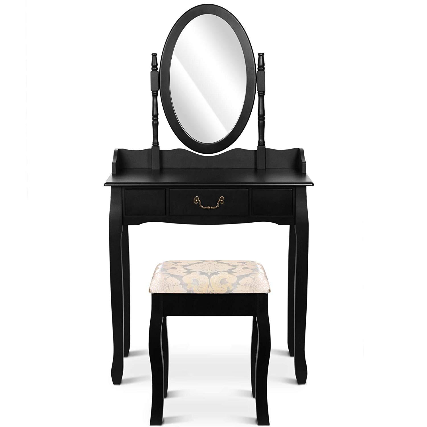 Dressing Table with Stool (1 Drawer) Adjustable Mirror Antique-Modern Design Cosmetics Make Up