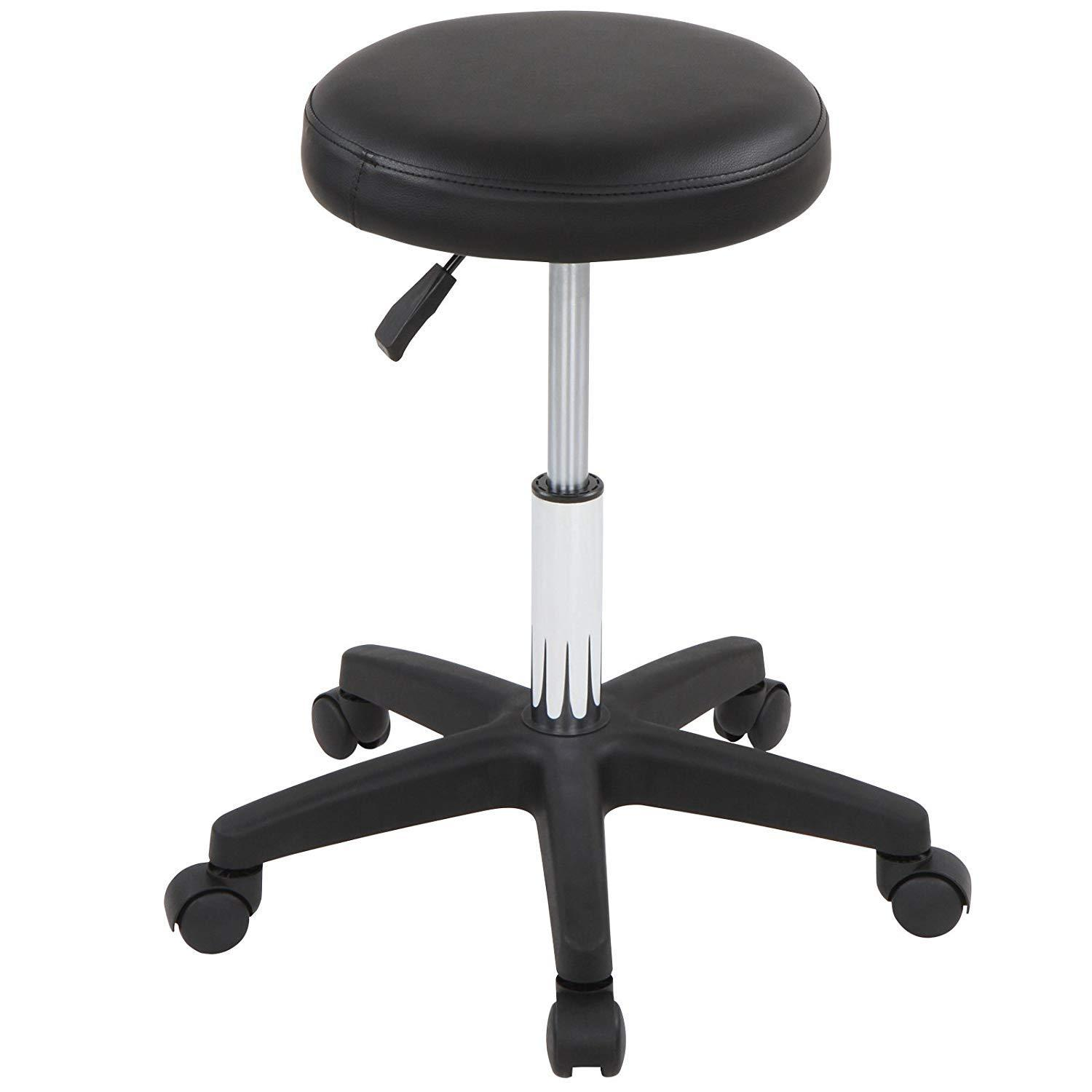 Set of 2 Elegant Height Adjustable Cosmetic Stools (Black) Comfortable Soft Padded Chairs