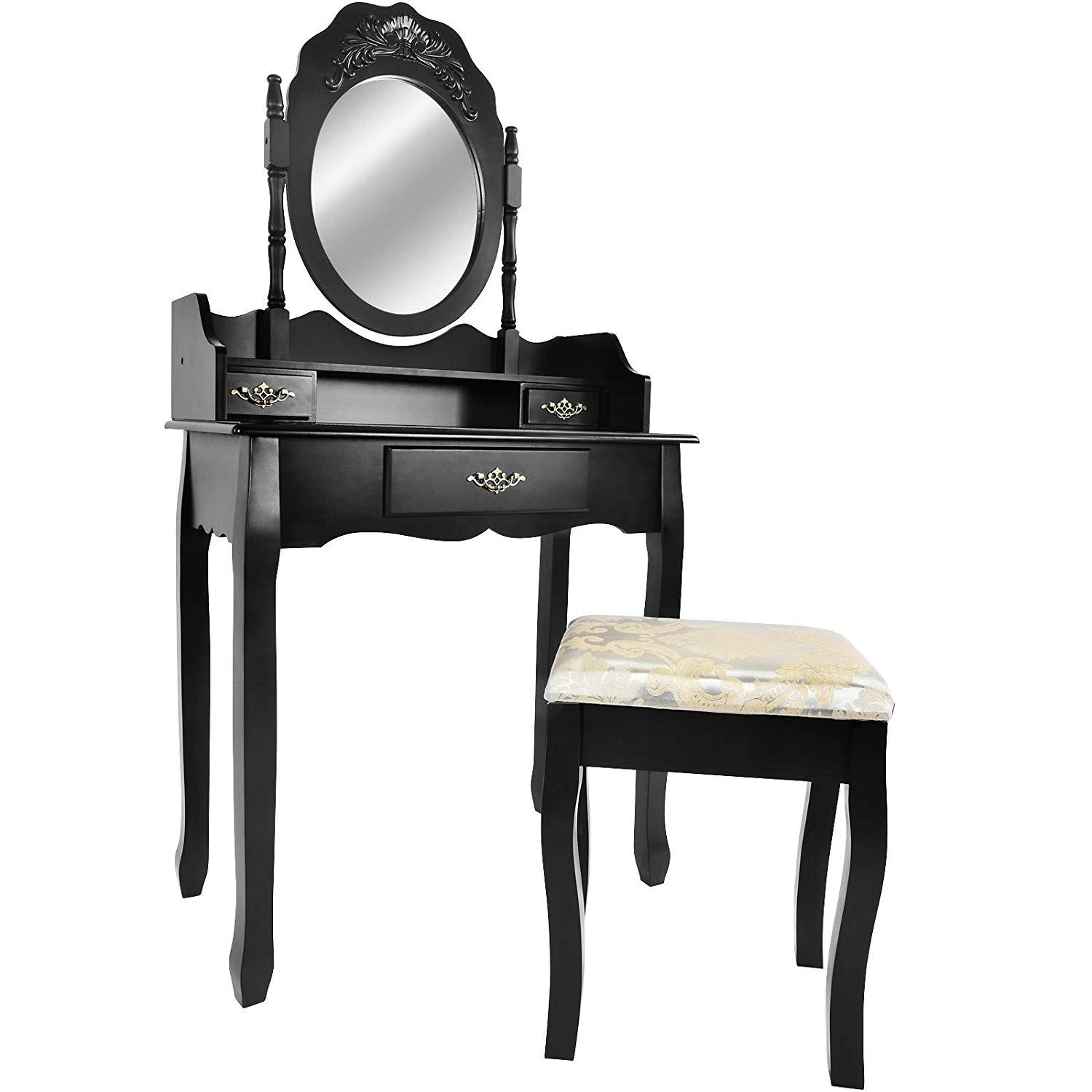 Baroque Dressing Table with Ornate Mirror and Stool Black