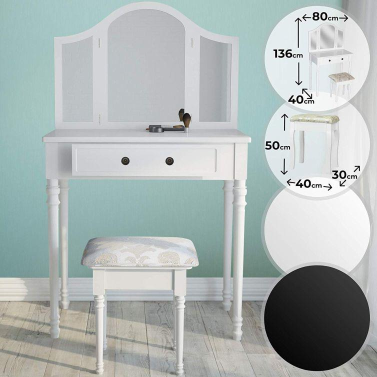 Dressing Table with Stool and Triple Mirror Mirror Table Cosmetic Table