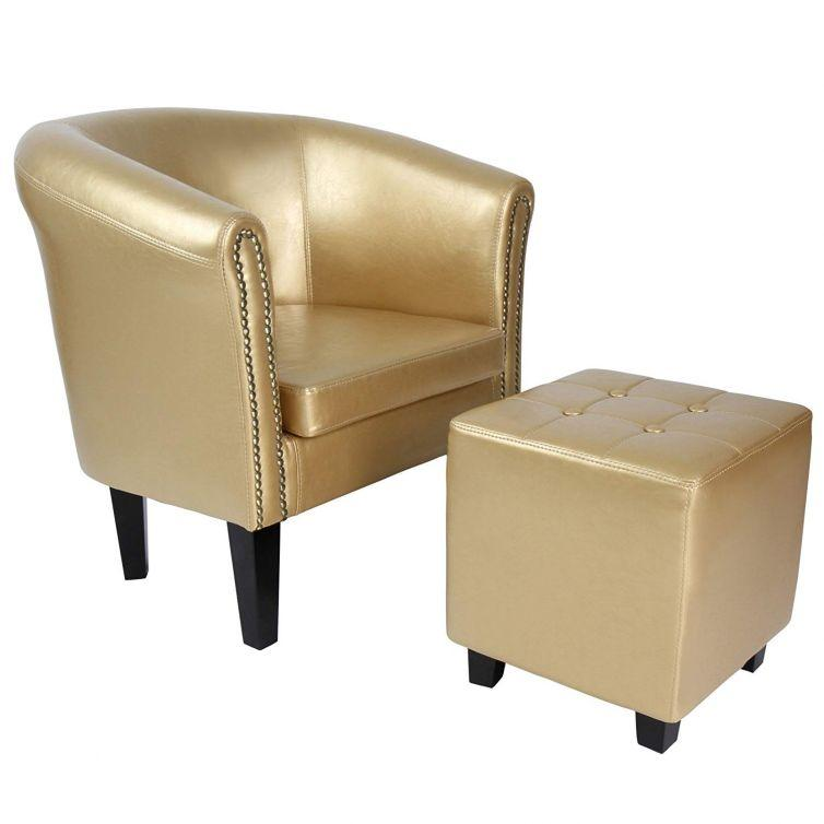 Chesterfield Armchair (Studded Back) Stylish Tub Chair + Stool – gold, white, brown, grey