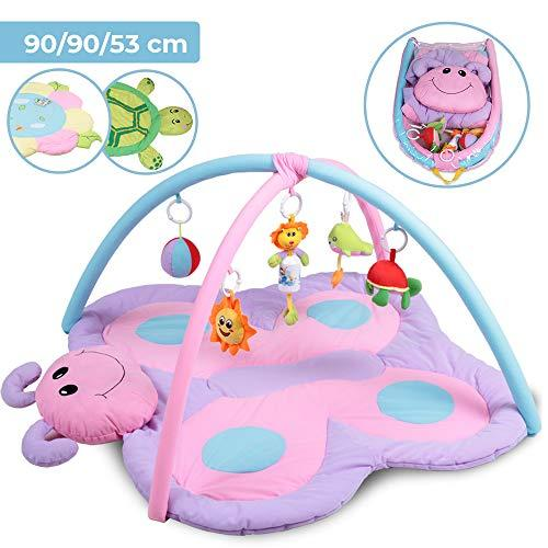 Child Baby Activity Play Mat Crawling Mat with Play Arch and Toys (Design and Sizes Available) purple