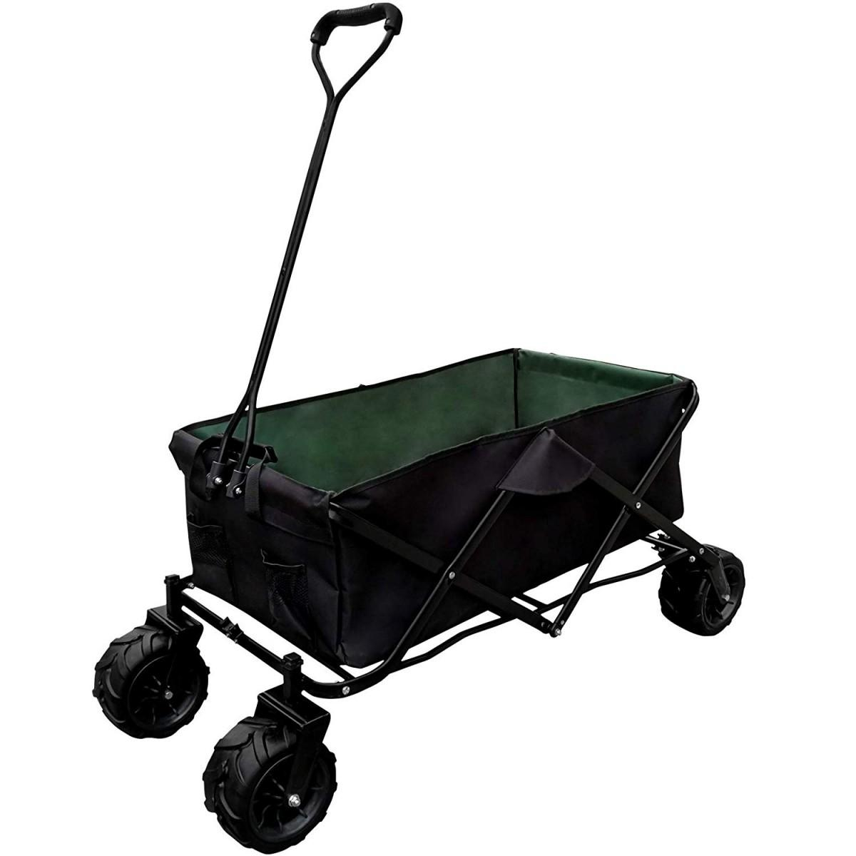 Handcart Foldable 4 Wheels Max. 80 kg, 117 x 54 x 109 cm, choice of colours, hand trolley, garden trailer, transport trolley, beach trolley