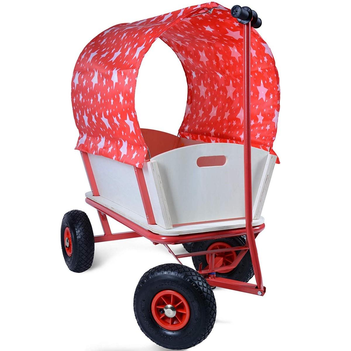 Handcart 4 Wheels with Roof, Wood, Max. 100 kg, 92 x 61 x 98 cm, red with stars