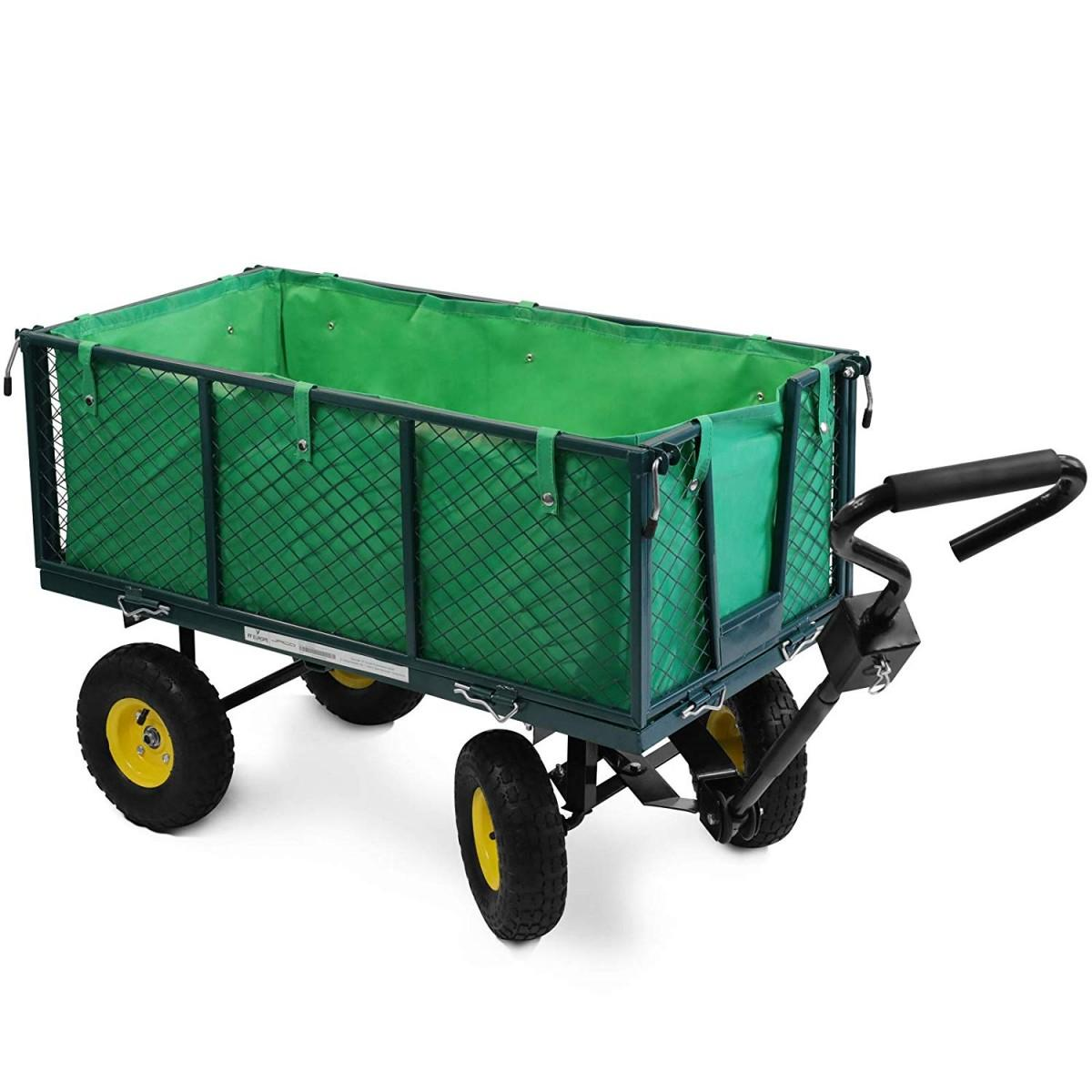 Handcart Maximum Load 550 kg Choice of Colours Folding Side Walls Removable Tarpaulin Pneumatic Tyres Garden Trolley Hand Trolley