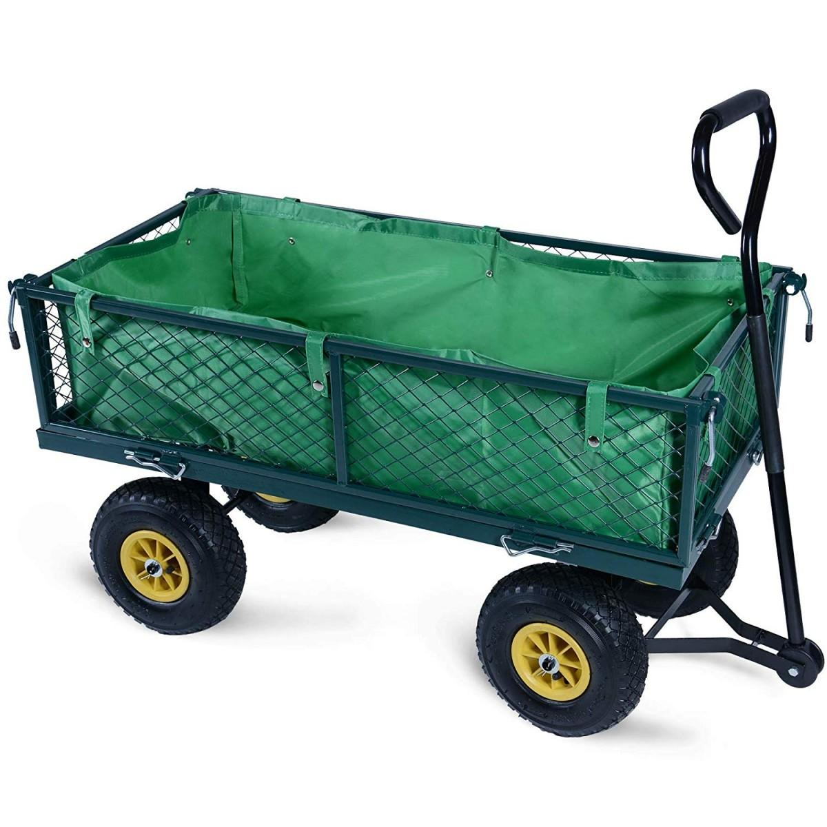 handcart folding side walls, 4 wheels, max. 350 kg, 114 x 52 x 88 cm, choice of colours for hand cars, garden trailers, transport cars, beach trolleys