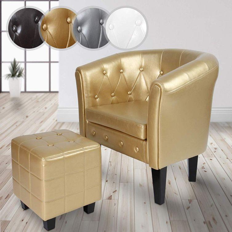 Chesterfield Armchair and Stool Set – Lounge Furniture gold