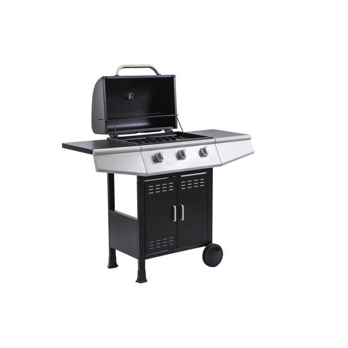 COOKING BOX Gas barbecue Paarl - 3 burners - Enameled grids - 52 x 34 cm